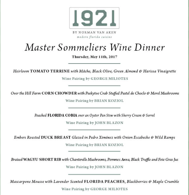 Join the Master Sommelier Wine Dinner at 1921 by Norman Van Aken menu