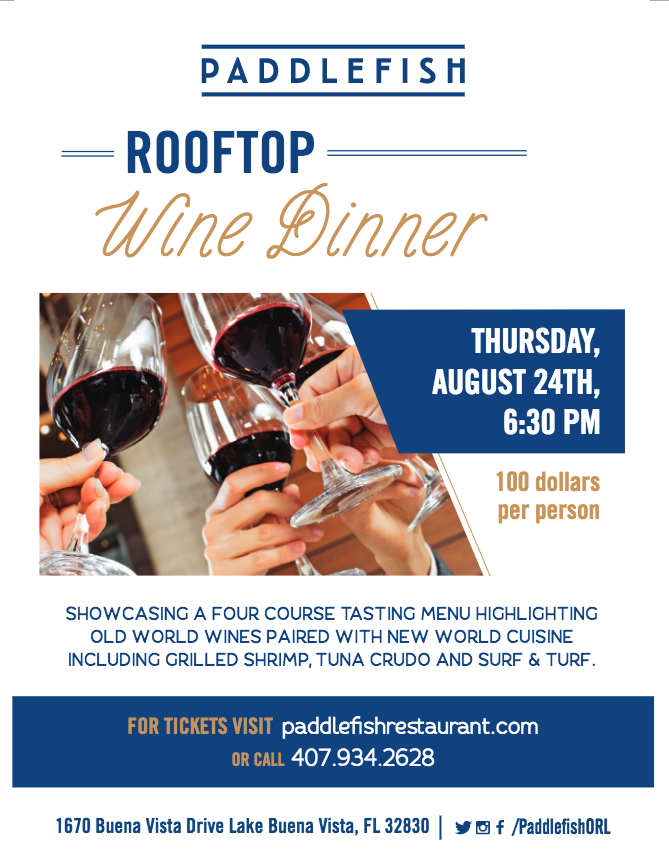 UP ON THE ROOF -- 4-Course Paddlefish Wine DInner