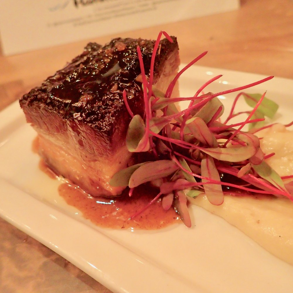 Bourbon-glazed pork belly with pureed turnips