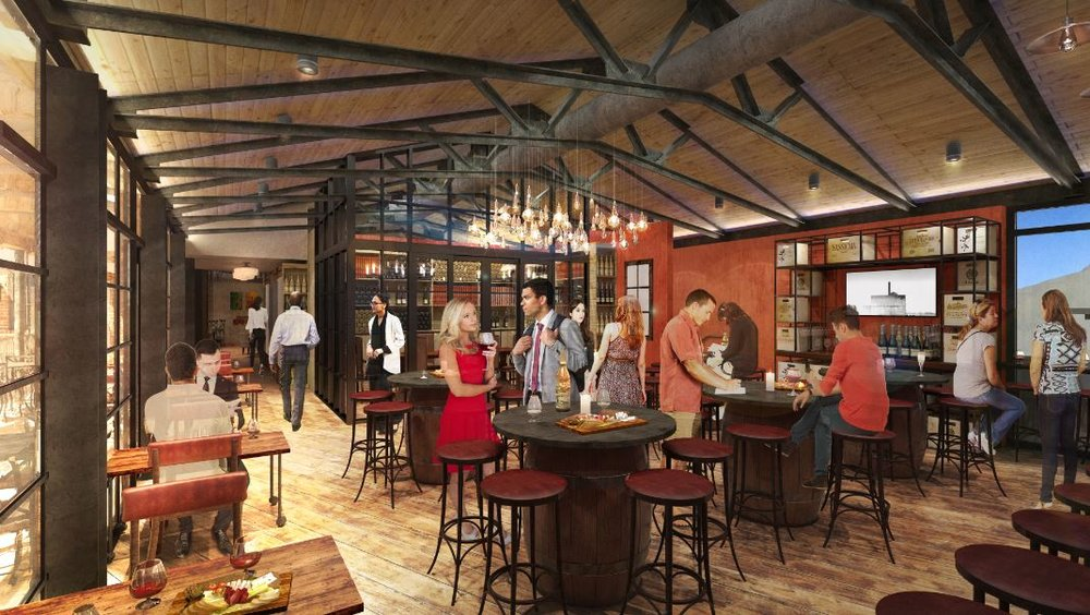 A rendering of Wine Bar George's second story. Note the floor-to-ceiling windows overlooking Disney Springs.