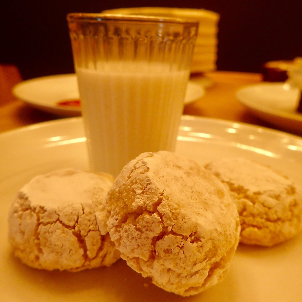"""This dessert looks so bland I'm surprised Sette Orlando served it at the media dinner. ORDER IT! It's chewy house-baked almond-flavored amaretti cookies with """"milk"""" spiked with a white-chocolate liqueur."""