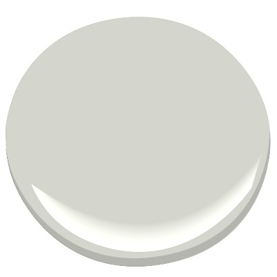 Gray Owl by Benjamin Moore -- a crisp, cool gray with bluish/greenish undertones in bright light. Perfect for bedrooms and baths.