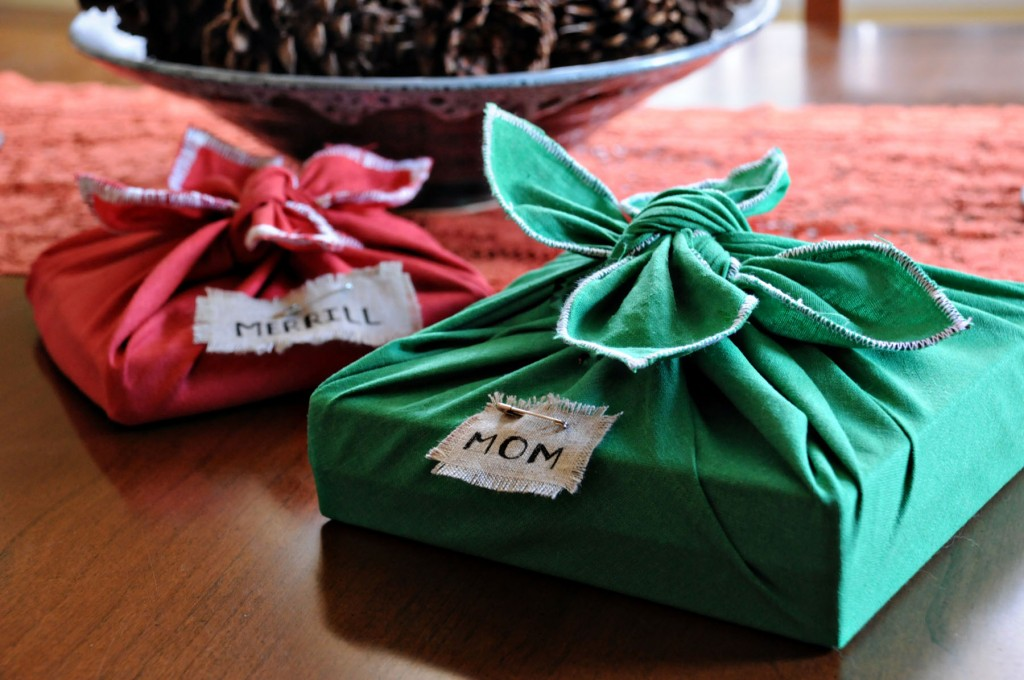Fabric gift wrap is environmentally friendly because it can be reused year after year.