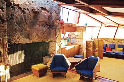 Sitting area near fireplace at Frank Lloyd Wright's Taliesin West, Arizona