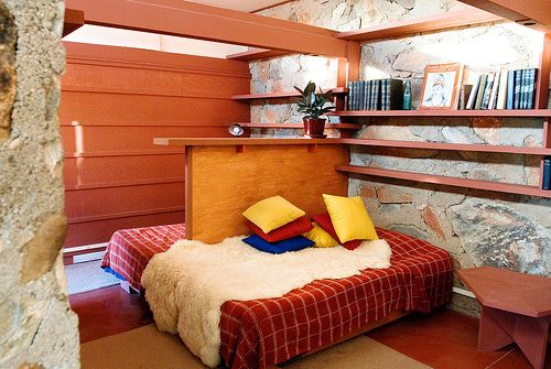 Bedroom at  Frank Lloyd Wright's Taliesin West, Arizona