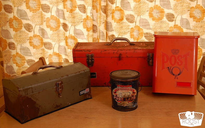 Vintage toolboxes, pale and mailbox.