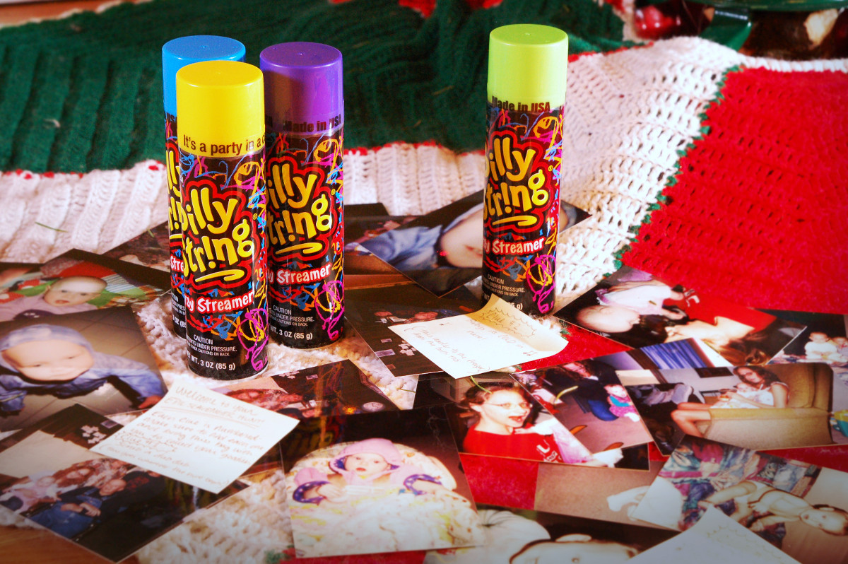 Silly string, family photos & pictures gift