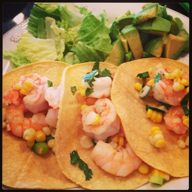 Shrimp Tacos with Grilled Corn, Cilantro, Green Onions, & Lime Hash