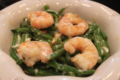 APL Shrimp Curry over Green Bean Salad