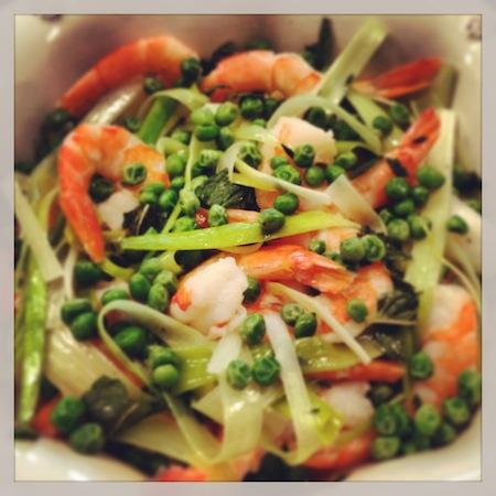 Shrimp, Leeks, Peas, & Mint Salad