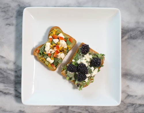 Blackberry + Sage:    1 1/2 TB goat cheese spread over a toasted slice of whole grain bread + topped with a handful of microgreens, several slightly smashed blackberries, a smidge of chopped sage, + a drizzle of honey.⠀ ⠀
