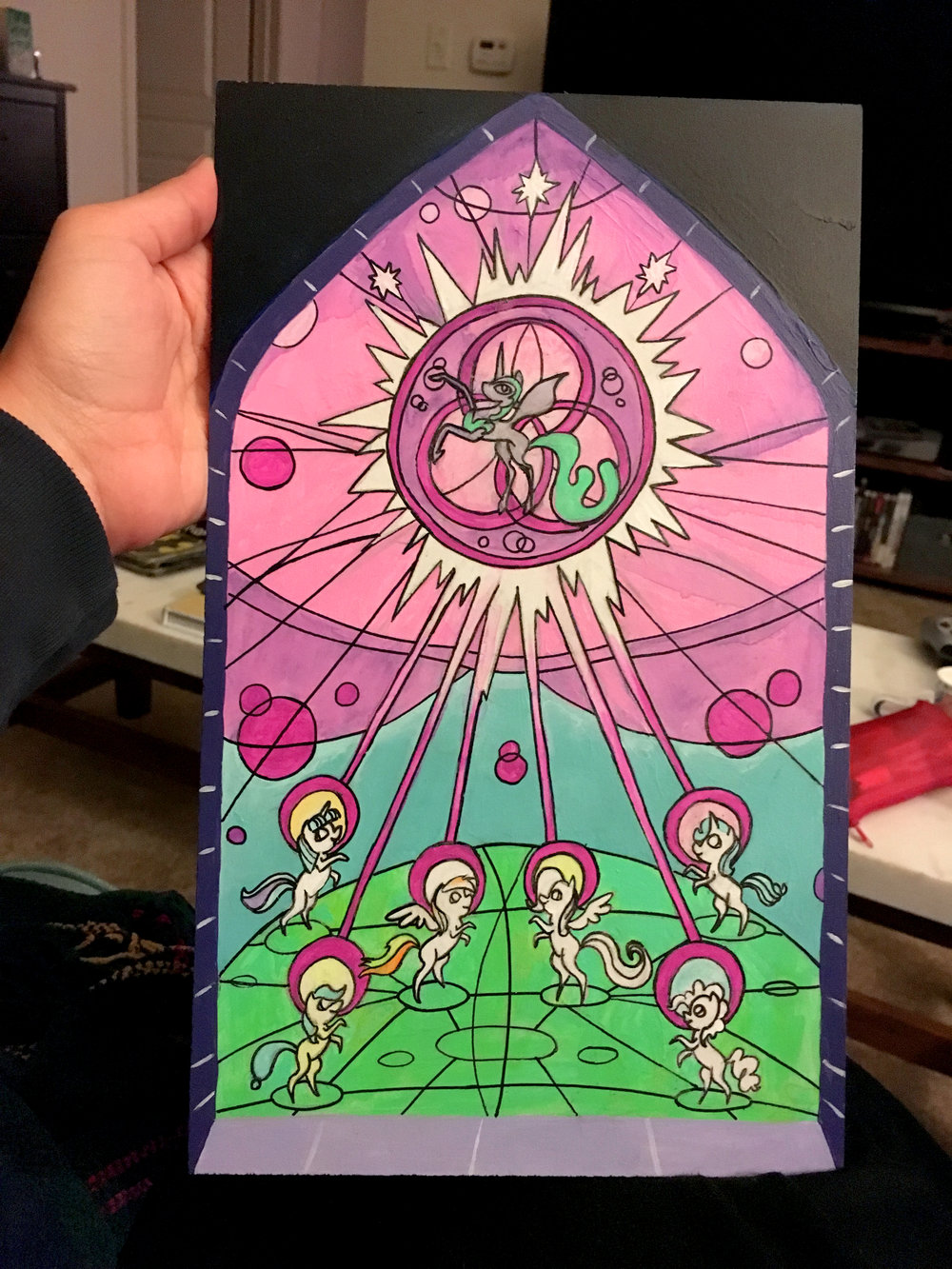 Stained Glass Style Painting on PVC Board
