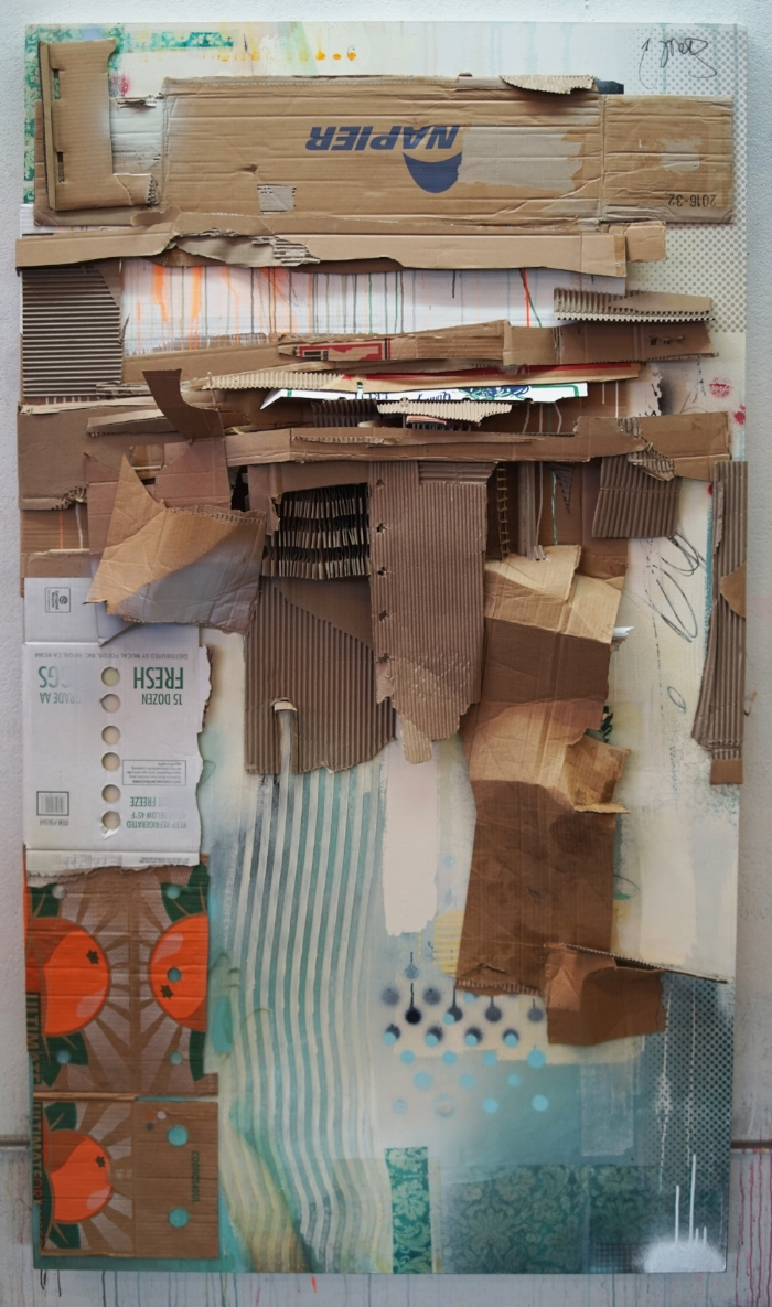 "Mountain Slider, cardboard and acrylic on canvas, 84"" x 48"", 2017"