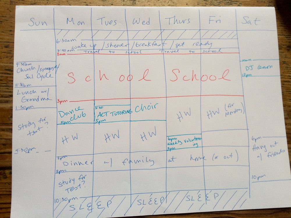 Now we've dropped in the blocks of time necessary to get homework done and blocked off time necessary to study for tests. Take a look at this schedule—it's a busy one, but it still has room to add a few compact blocks of ACT/SAT prep time. And taking social time into account and putting it on the schedule means that time can be guilt- and worry-free!