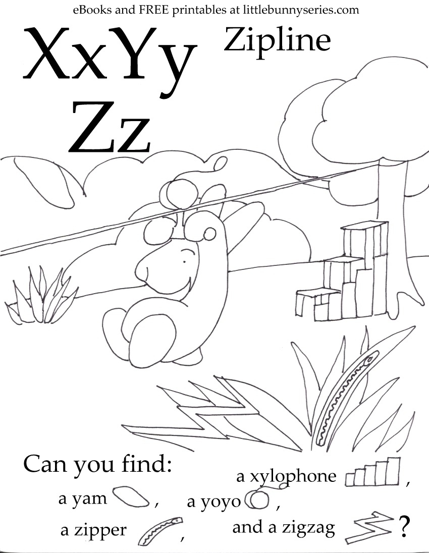Letters X,Y,Z Seek and Find PDF