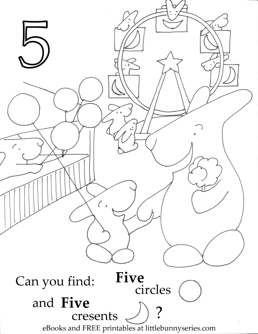 Number 5 Seek and Find PDF