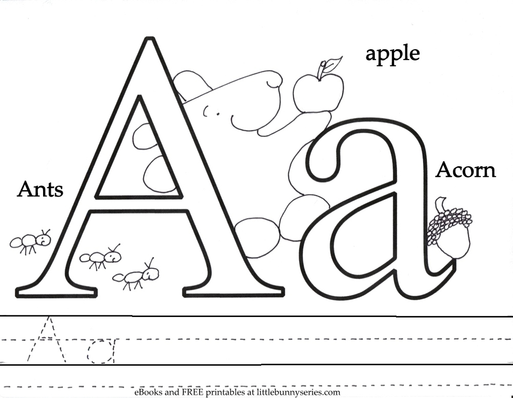 Coloring Pages Pdf : Letter a coloring page pdf book for
