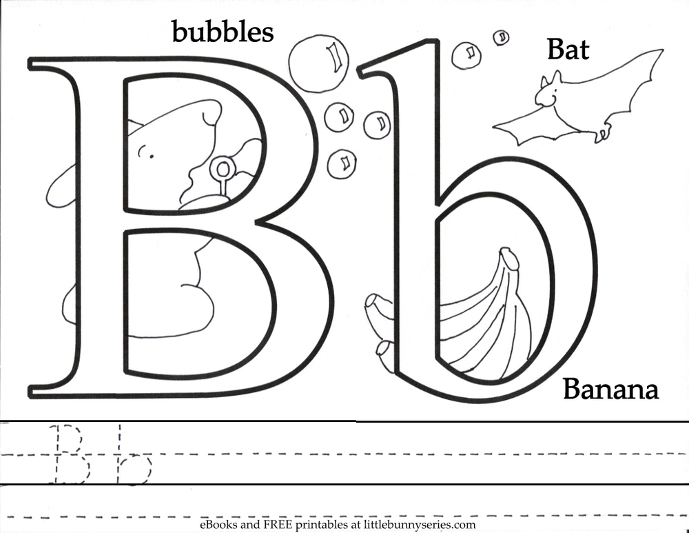Letter B Coloring Page PDF