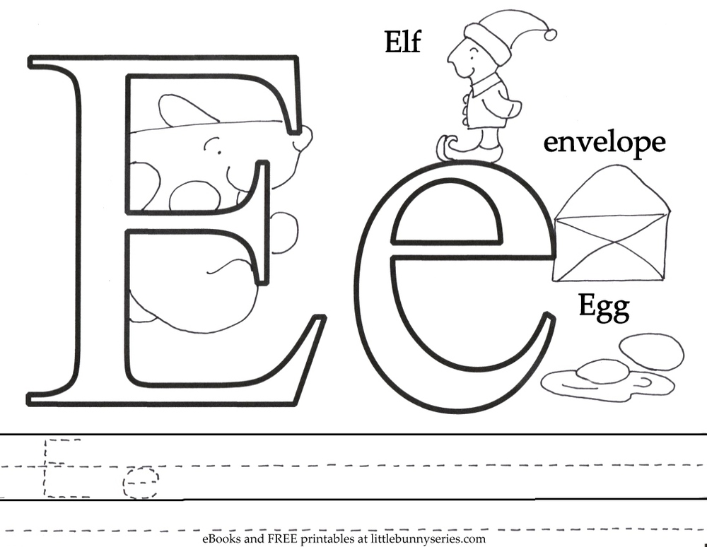 Coloring pages little bunny series for Letter e coloring page