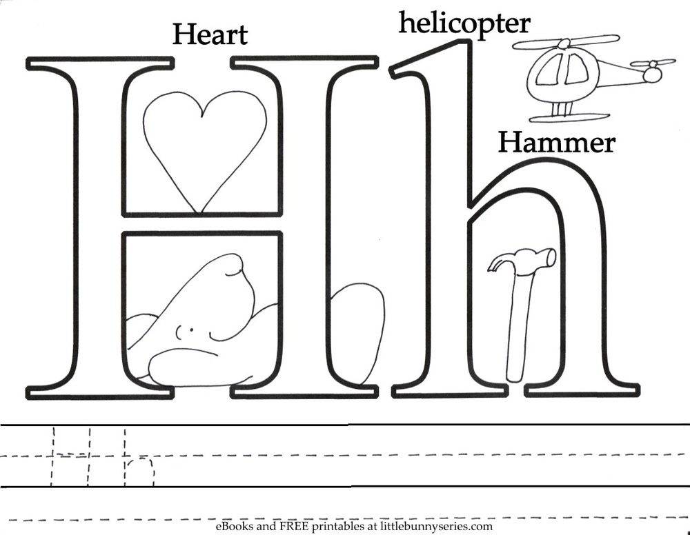 Letter H Coloring Page PDF