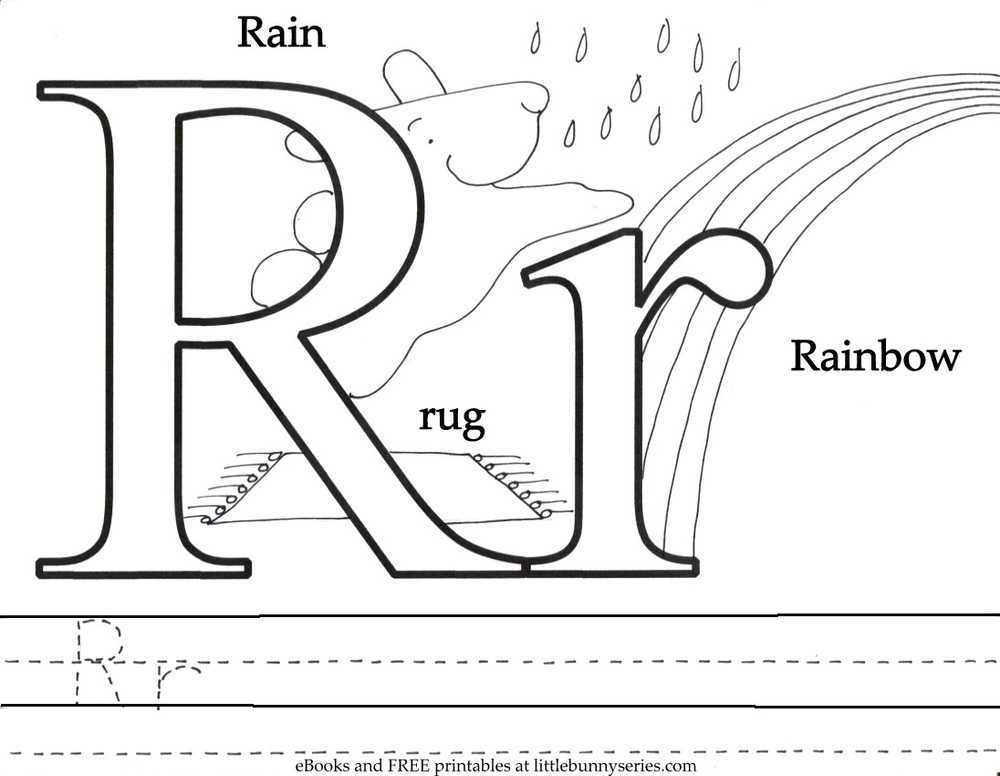 Letter R Coloring Page PDF