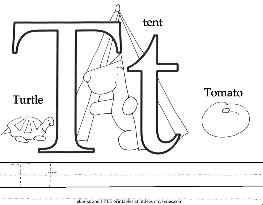 Letter T Coloring Page PDF