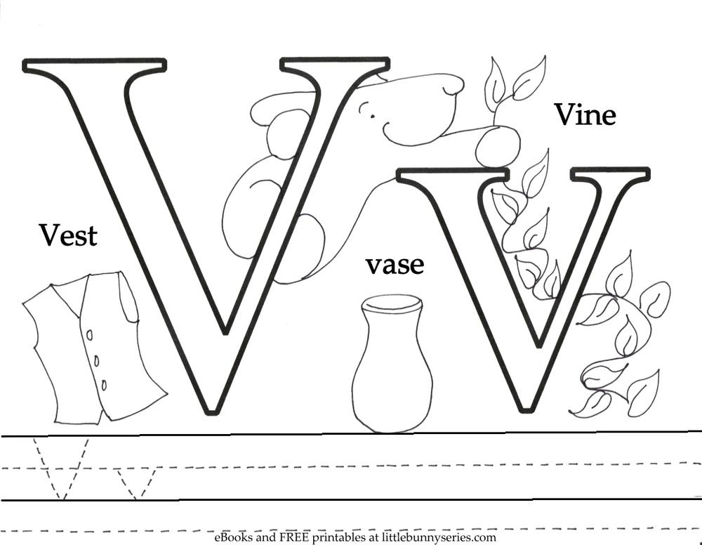 Letter V Coloring Page PDF