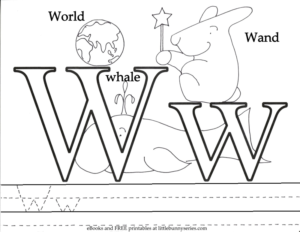 Letter W Coloring Page PDF