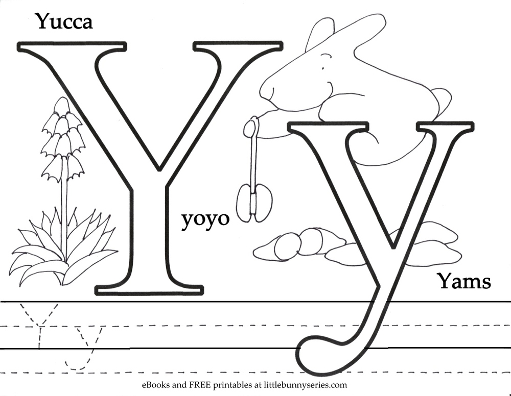 Letter Y Coloring Page PDF