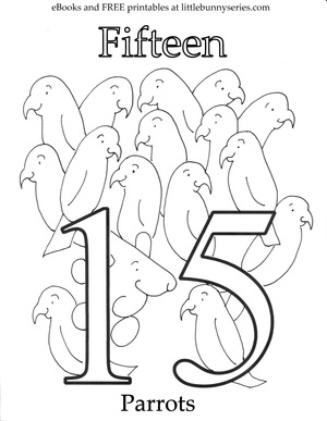 Number 15 Coloring Page PDF
