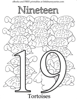Number 19 Coloring Page PDF