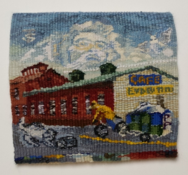 "Florence, MA - Past & Present, 9"" x 10"", wool weft; cotton warp"