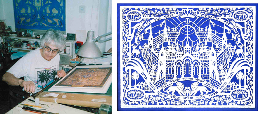 Yehudit Shadur at work in her studio | Y.Shadur Papercut, Look Upon Zion