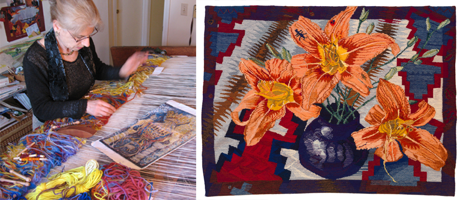 Tamar Shadur weaving the Yizkor tapestry |  T.Shadur    Tapestry,   Lilies     Tapestry artist   Tamar Shadur   has created woven interpretations of her mother's designs using traditional methods as those used to create magnificent tapestries hundreds of years ago.    Click  HERE  for Tamar's portfolio