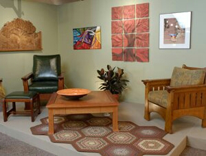 Check out the chair on the right!     ( Picture from the League of NH Craftsmen )