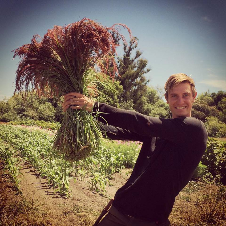 Julian strikes a fierce pose with Chica Bloom Farm grown Ruby Silk.