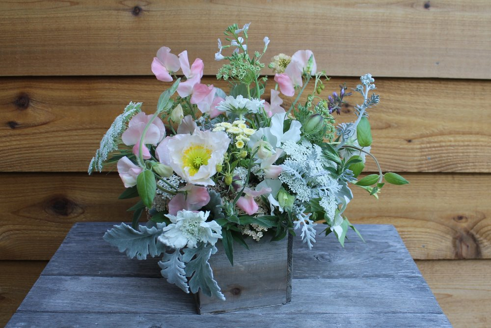 A signature Garden Wild Arrangement featuring late Spring and early Summer annuals like sweet peas, poppies, scabiosa, and laceflower.