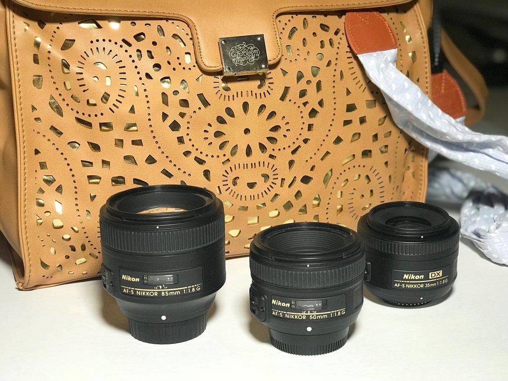 Nikon Prime Lenses. 85mm, 50mm, 35mm.