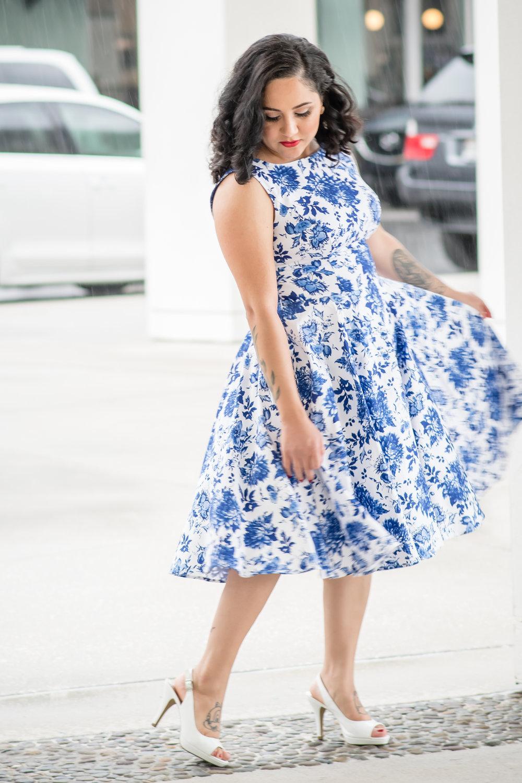 vintage dress with peep toe heels