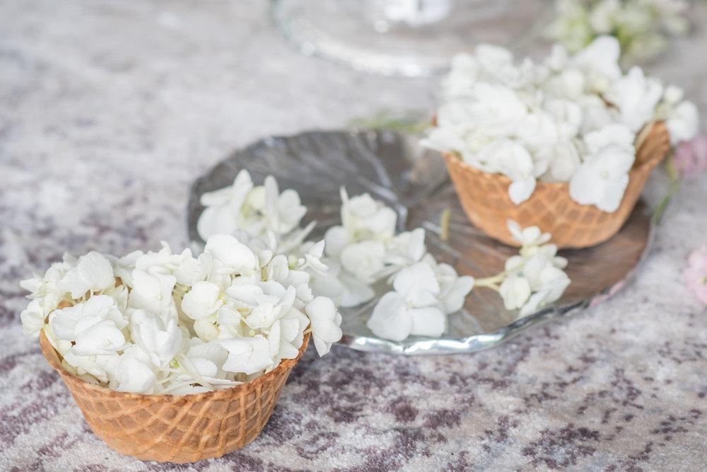 floral waffle cones