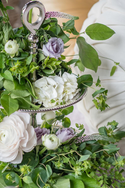 vintage green flowers tier arrangement