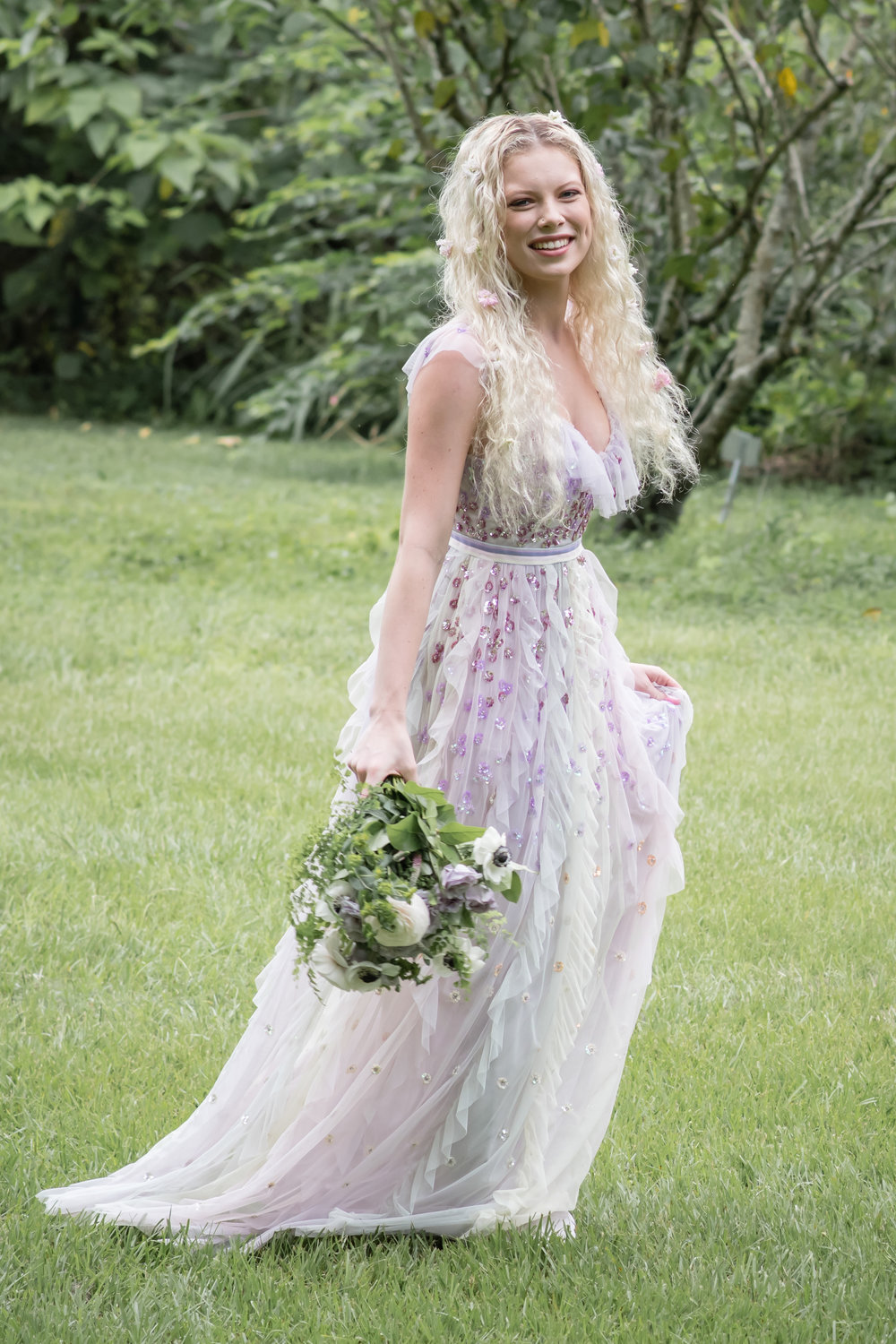 lilac flower bridal gown inspiration