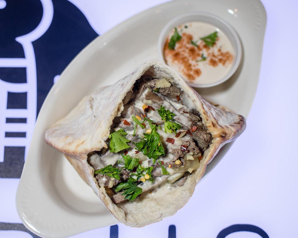 beef liver pita bread sandwich. food photography by Yanitza Ninett photography
