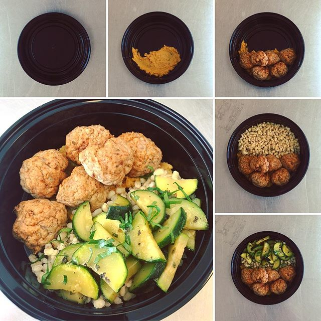 Evolution of a #Balanced #Meal - Roasted Butternut Squash Hummus - Middle Eastern Turkey Balls - Pearled Barley - Sautéd Zucchini  #delicious and #nutritious  #mealprep #nutrition #foods4thought #lasvegas #fitness