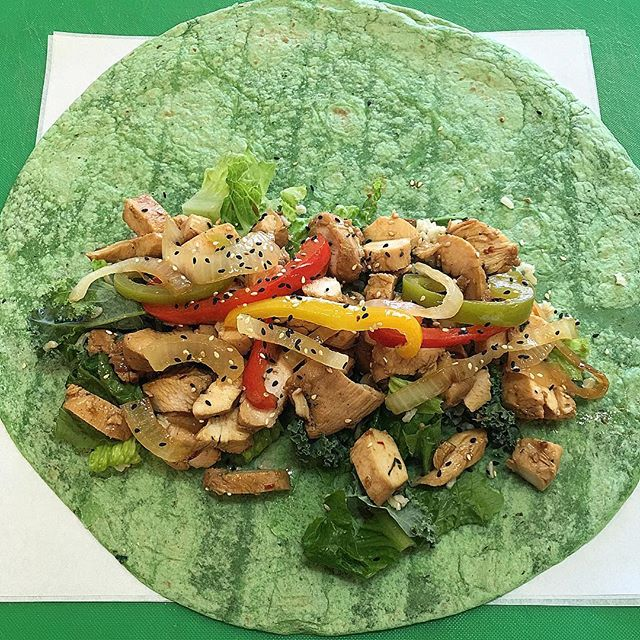 Asian Zing #Chicken #wrap on a spinach tortilla.  This portion size is about 800 #Calories.  Cut it in half for two 400 #Calorie #meals.  #nutrition #mealprep #vegas #fitness #fitnessmotivation