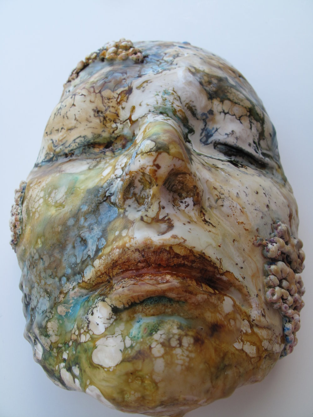 Self Portrait in plaster and encaustic
