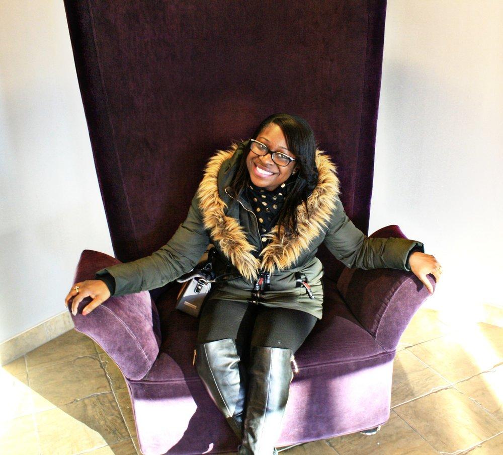 Big Purple Velvet Chair. I loved it lol