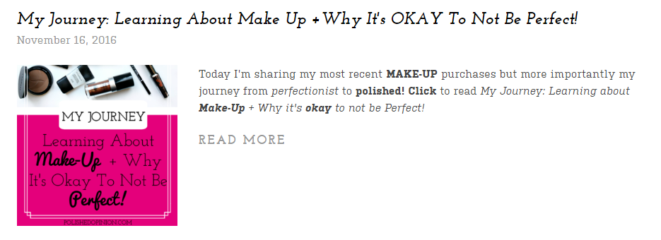 My Make up journey is listed on this Round up! Click for more!