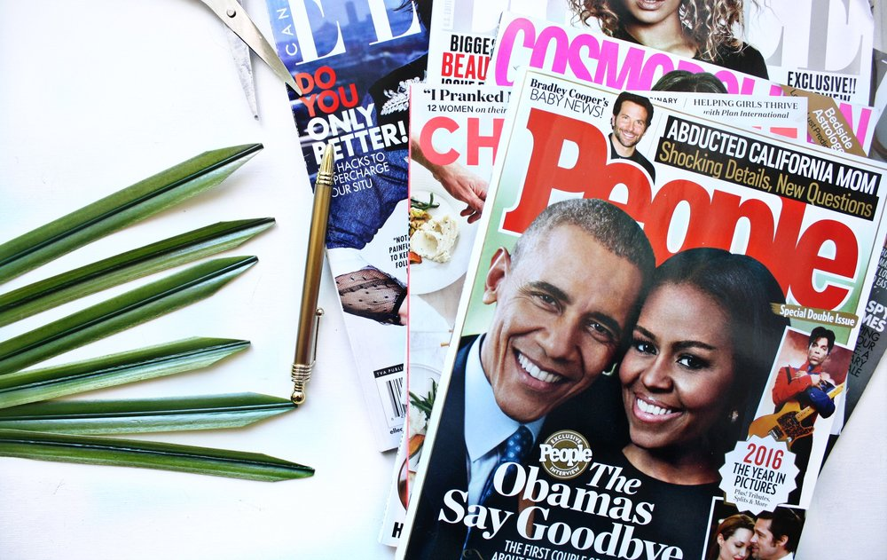 Clip images and words/phrases out of magazines
