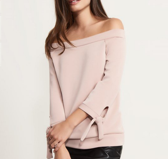 - Soft Off The Shoulder Top with Ties $39.95